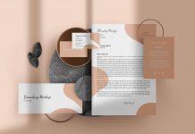 Free Golden Stationery Mockup PSD Set