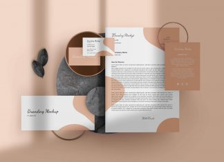 Free Golden Stationery Mockup PSD Set