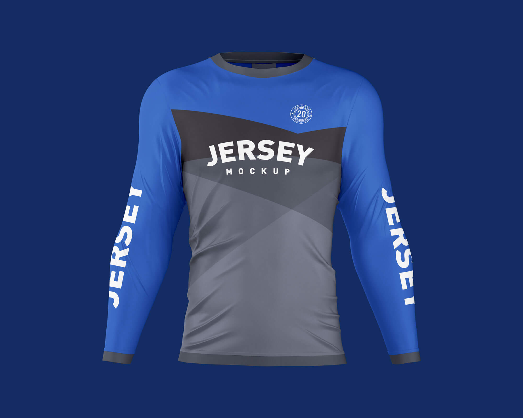Free Men's Long Sleeve Jersey T-Shirt Mockup PSD Set (1)