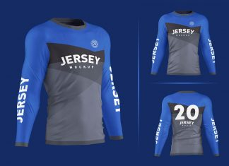Free Men's Long Sleeve Jersey T-Shirt Mockup PSD Set
