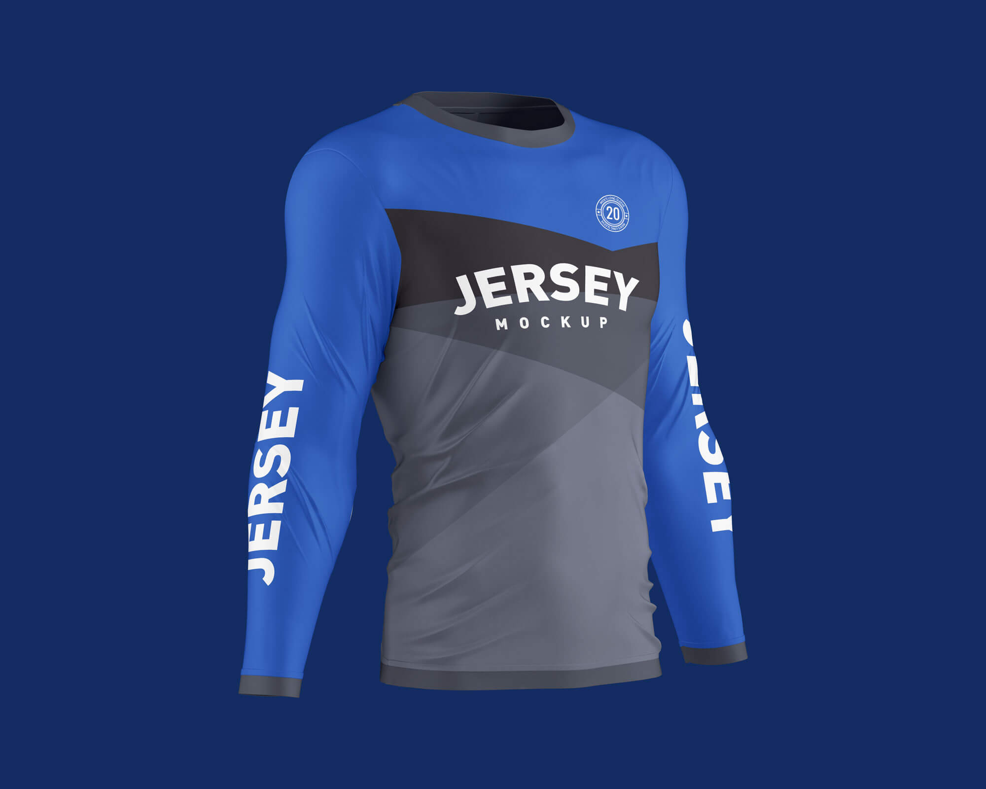 Free Men's Long Sleeve Jersey T-Shirt Mockup PSD Set (3)