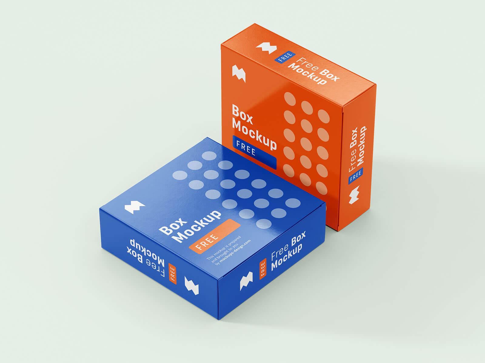 Free Packaging Box Mockup PSD Set Templates
