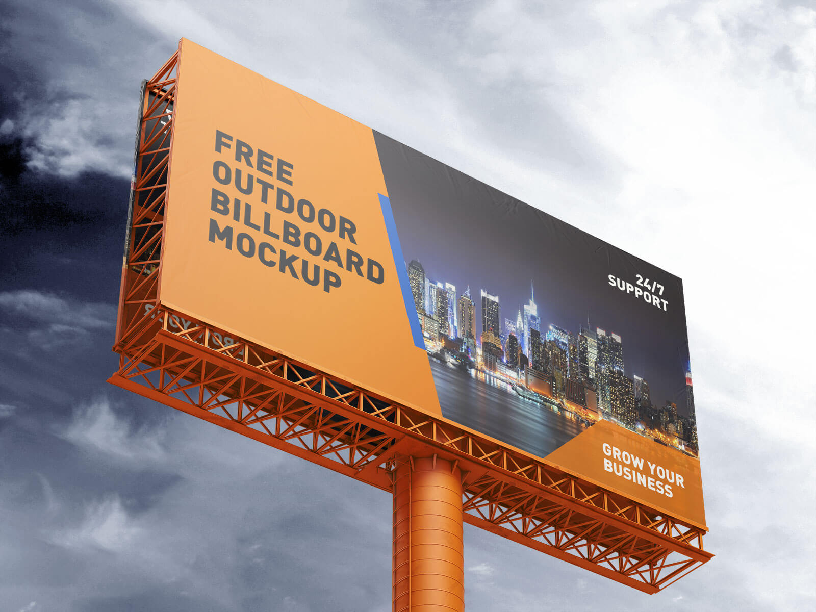 Free Outdoor Advertising Billboard / Hoarding Mockup PSD Set