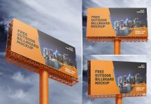 Free Outdoor Advertising Billboard / Hoarding Mockup PSD Set