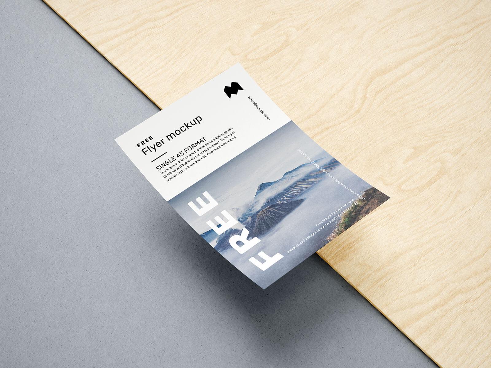 Free A5 Flyer Mockup PSD Set (4 Renders) (3)