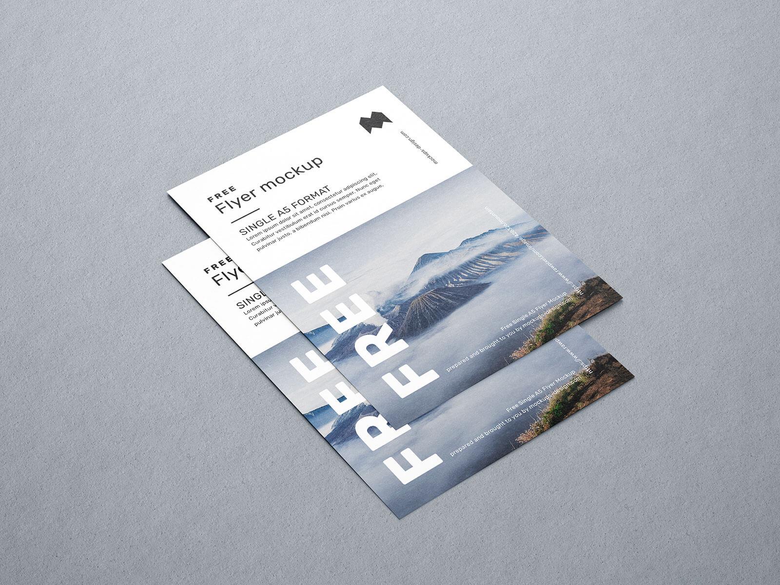 Free A5 Flyer Mockup PSD Set (4 Renders)