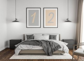Free Bedroom Twin Poster / Photo Frame On Wall Mockup PSD