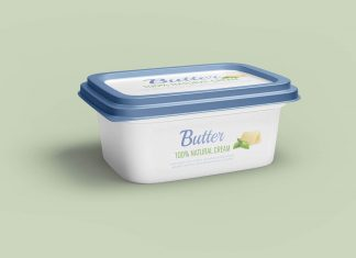 Free Butter Tub Container Mockup PSD