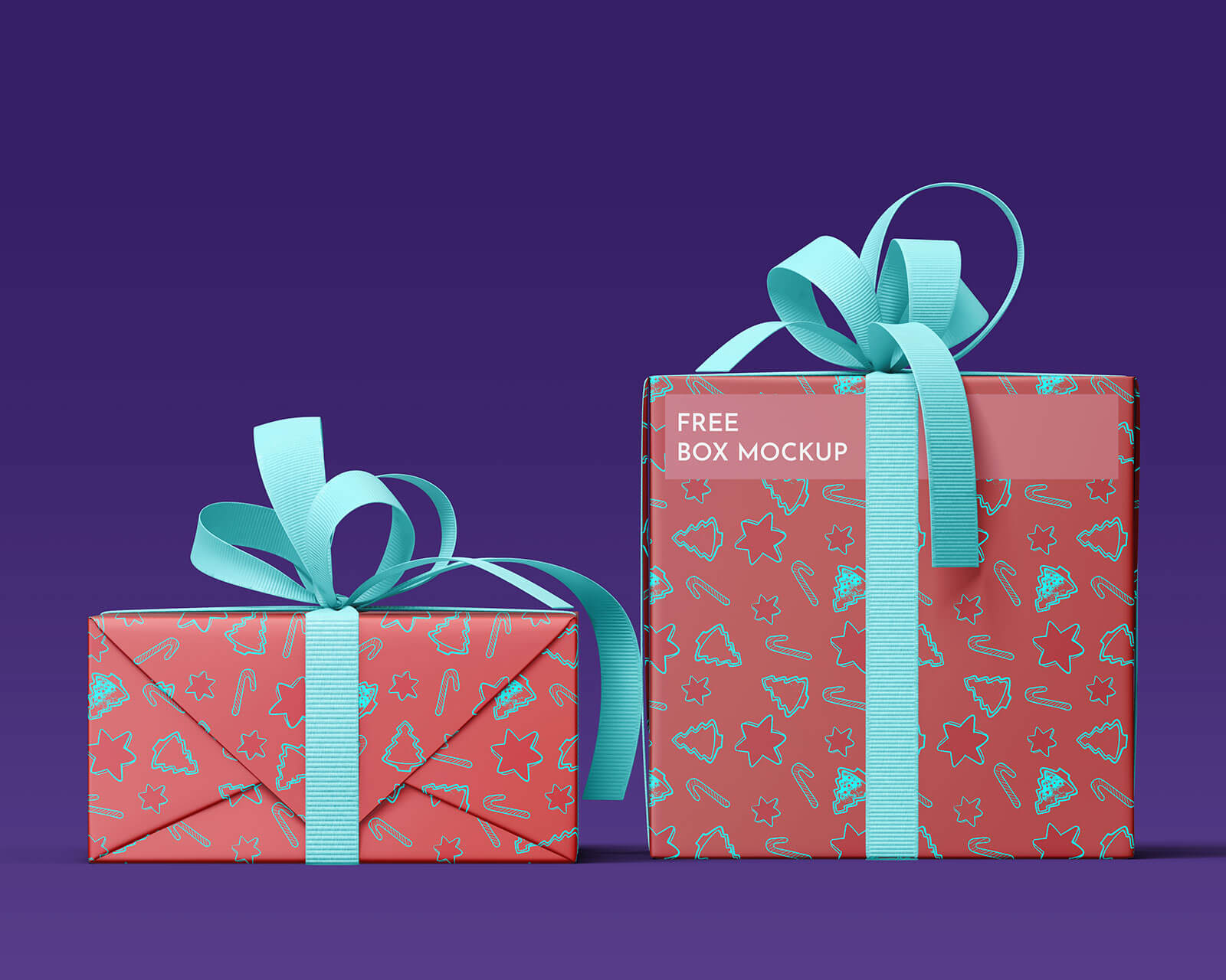 Free Christmas 2020 Gift Boxes Wrapping Paper Mockup PSD Set (1)
