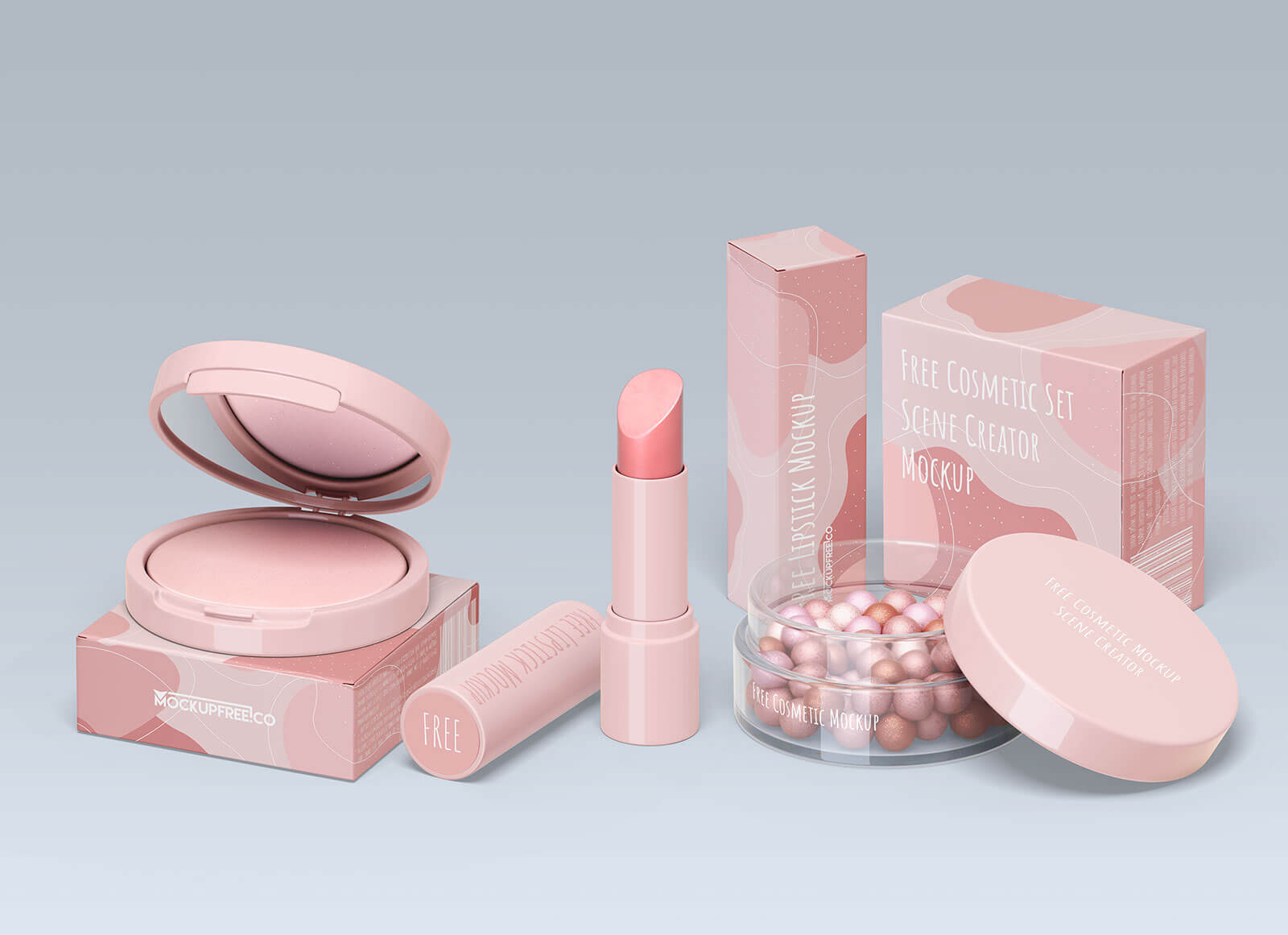 Free Cosmetic Lipstick & Bronzer Packaging Mockup PSD (1)