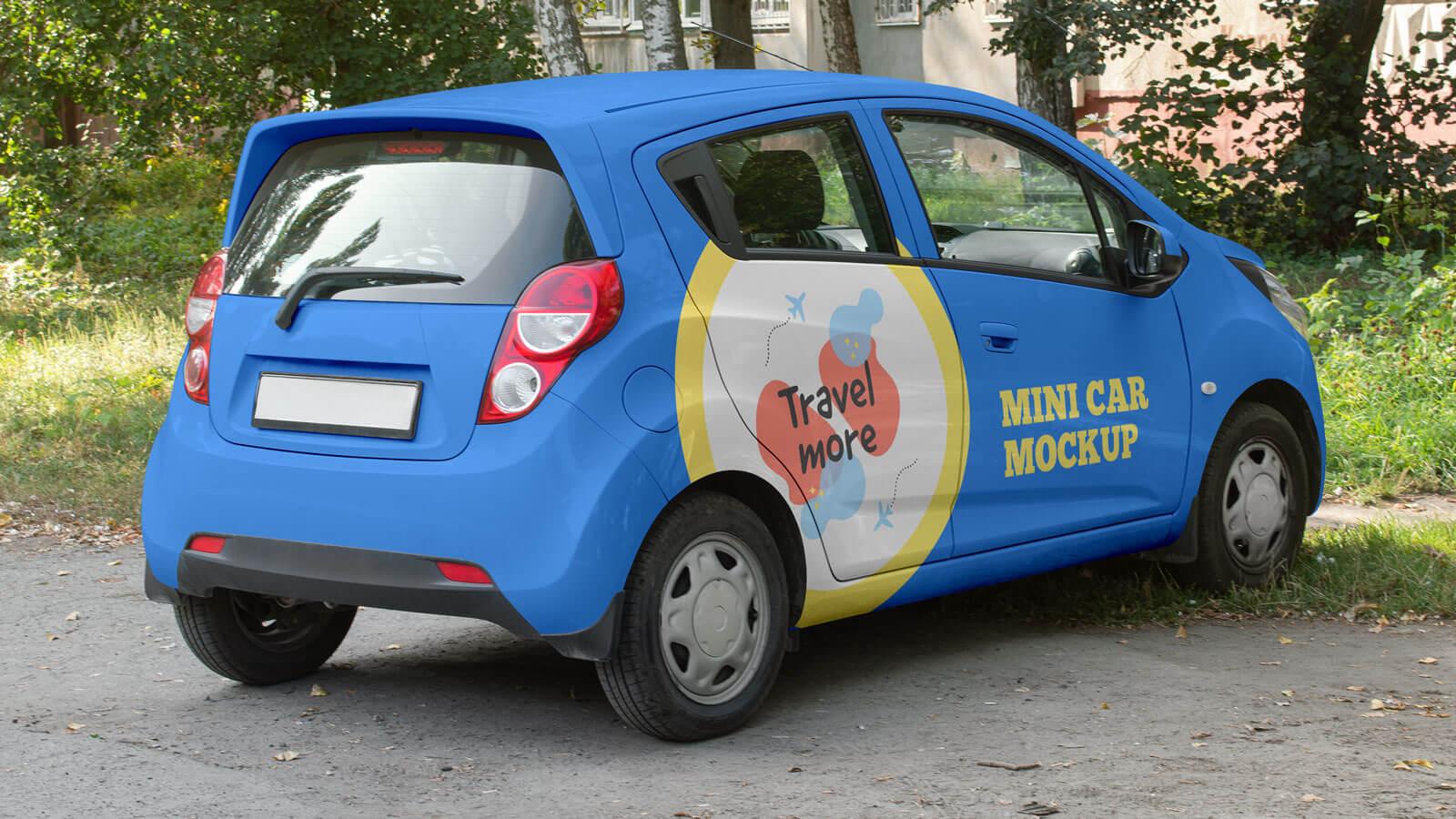 Free Electric Mini Car Branding Mockup PSD Set