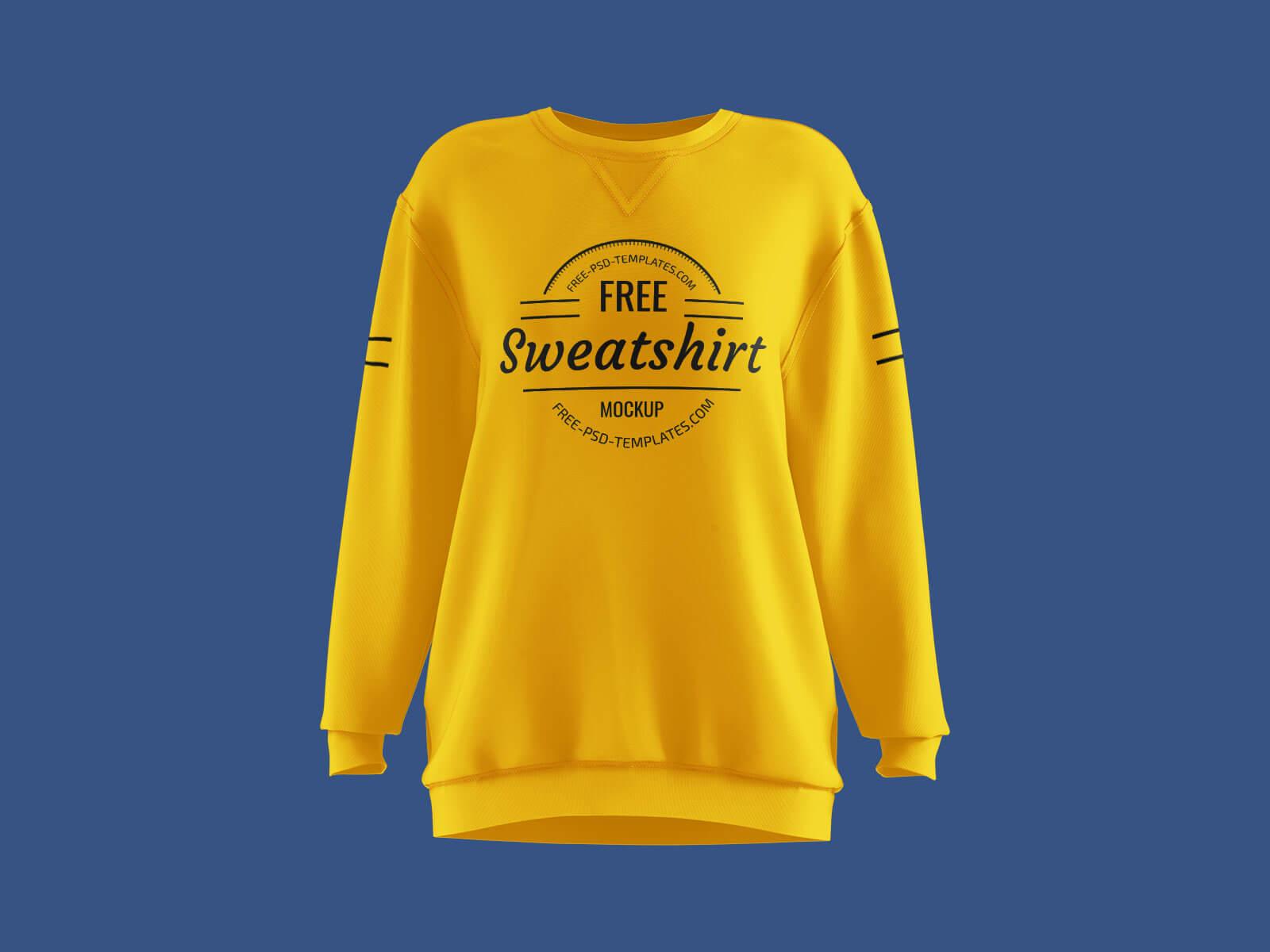 Free Long Sleeves Women's Sweatshirt Mockup PSD Set (1)