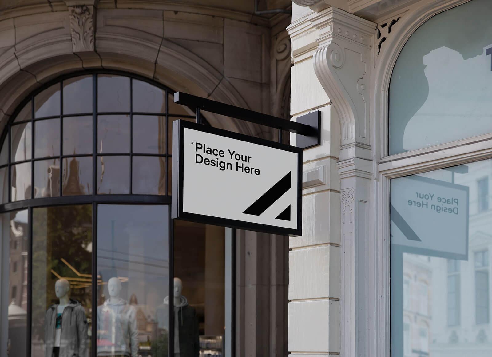 Free Rectangle Shape Shop Signage Mockup PSD