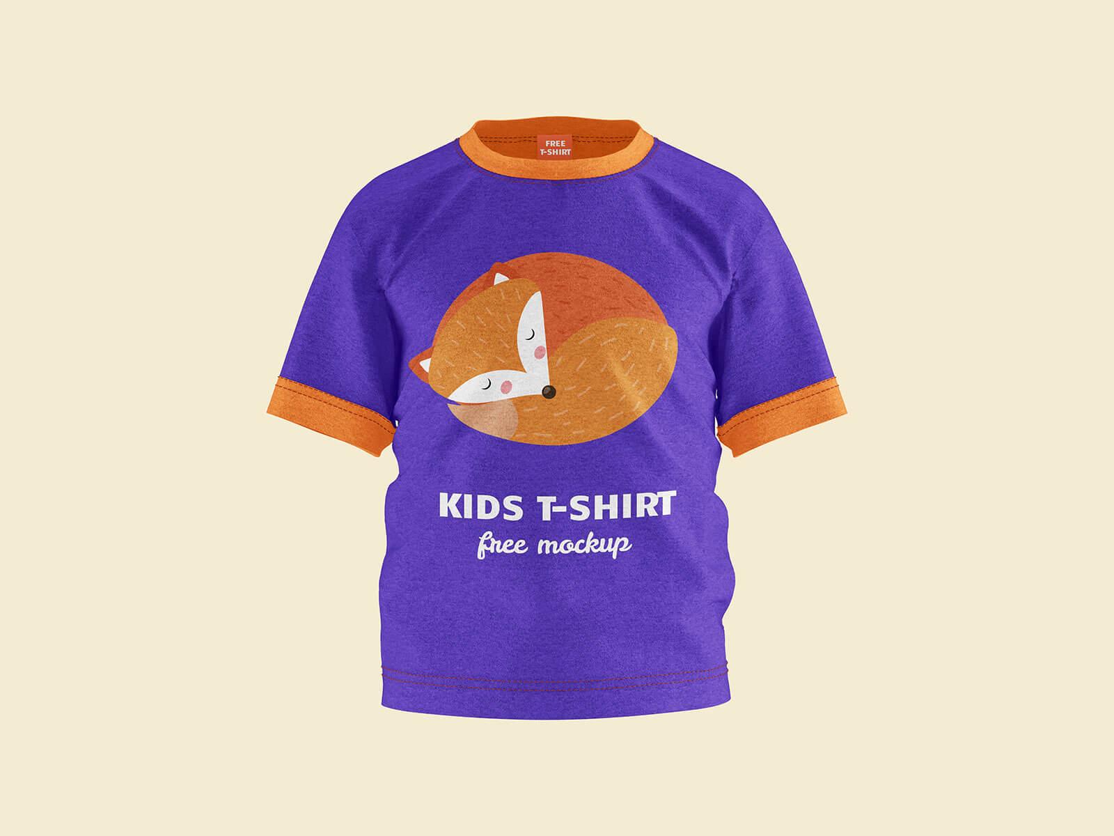 Free Short Sleeves Young Kid T-Shirt Mockup PSD Set (1)