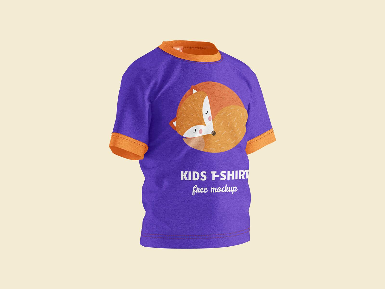 Free Short Sleeves Young Kid T-Shirt Mockup PSD Set (2)