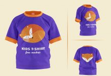 Free Short Sleeves Young Kid T-Shirt Mockup PSD Set (3)