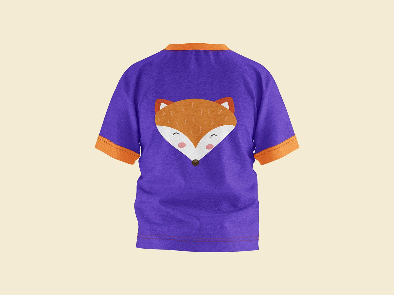 Free Short Sleeves Young Kid T-Shirt Mockup PSD Set (4)