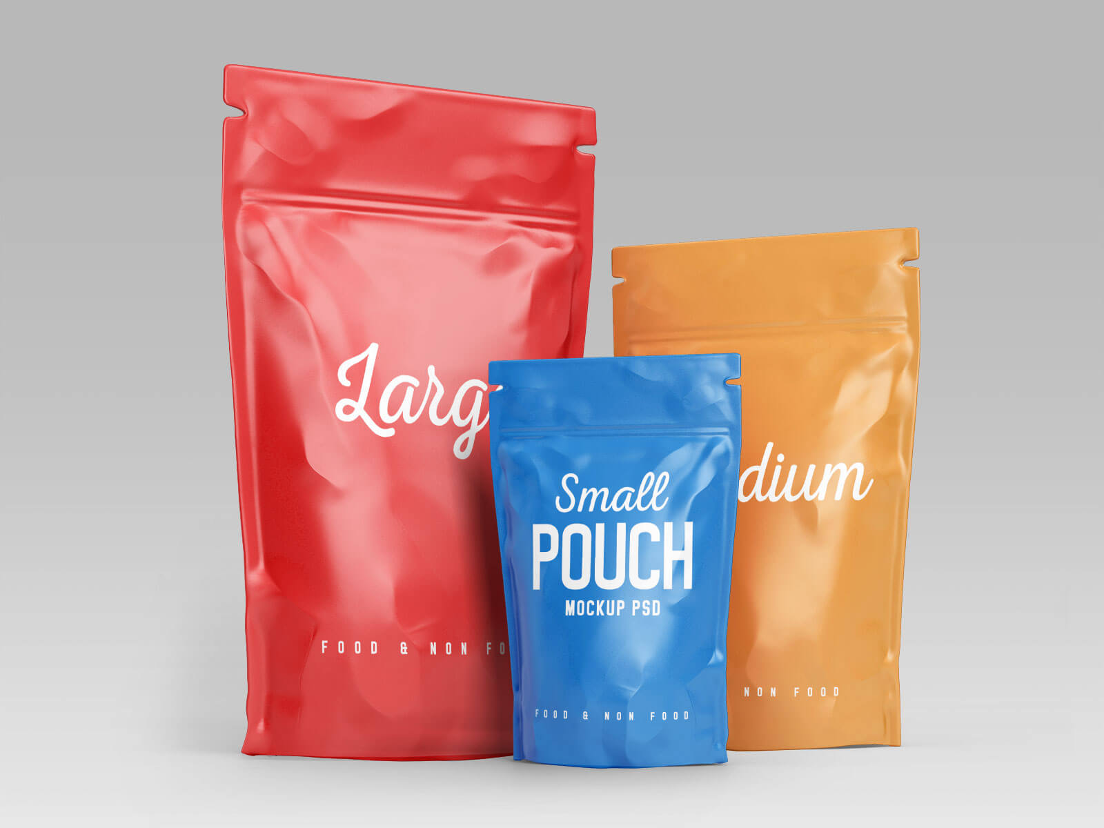 Free Stand-up Pouch (Doypack) Food Packaging Mockup PSD Set (3)