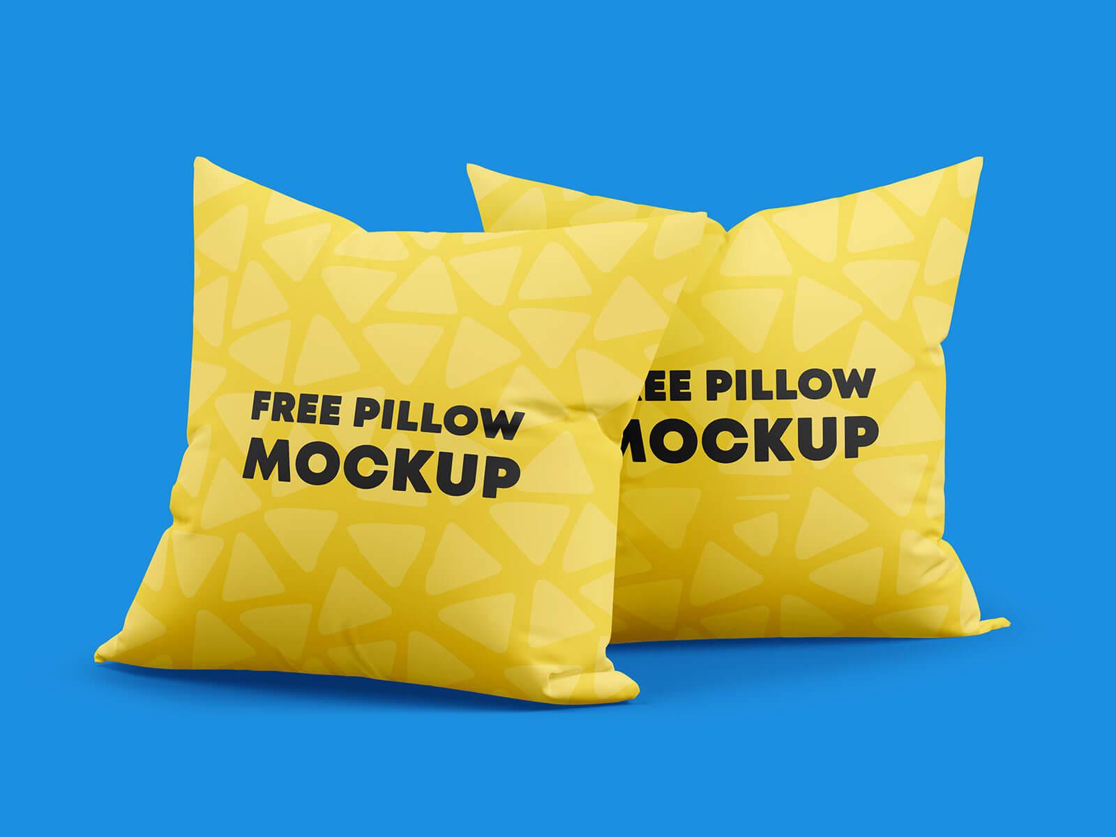 Free Square Throw Pillows Mockup PSD Set