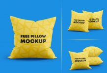 Free Square Throw Pillows Mockup PSD Set