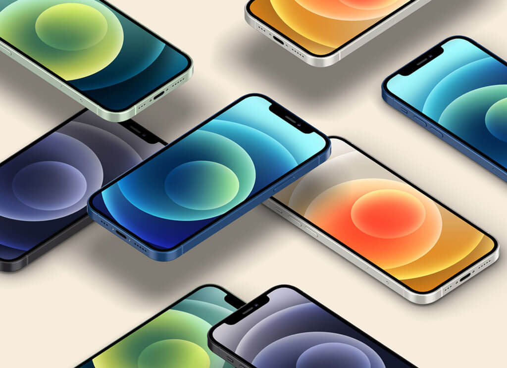 All-Colors-Free-Isometric-iPhone-12-Mockup-PSD