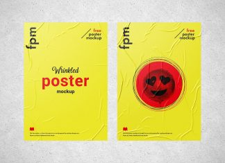 Free-Wrinkled-Paper-Poster-on-Wall-Mockup-PSD-Set