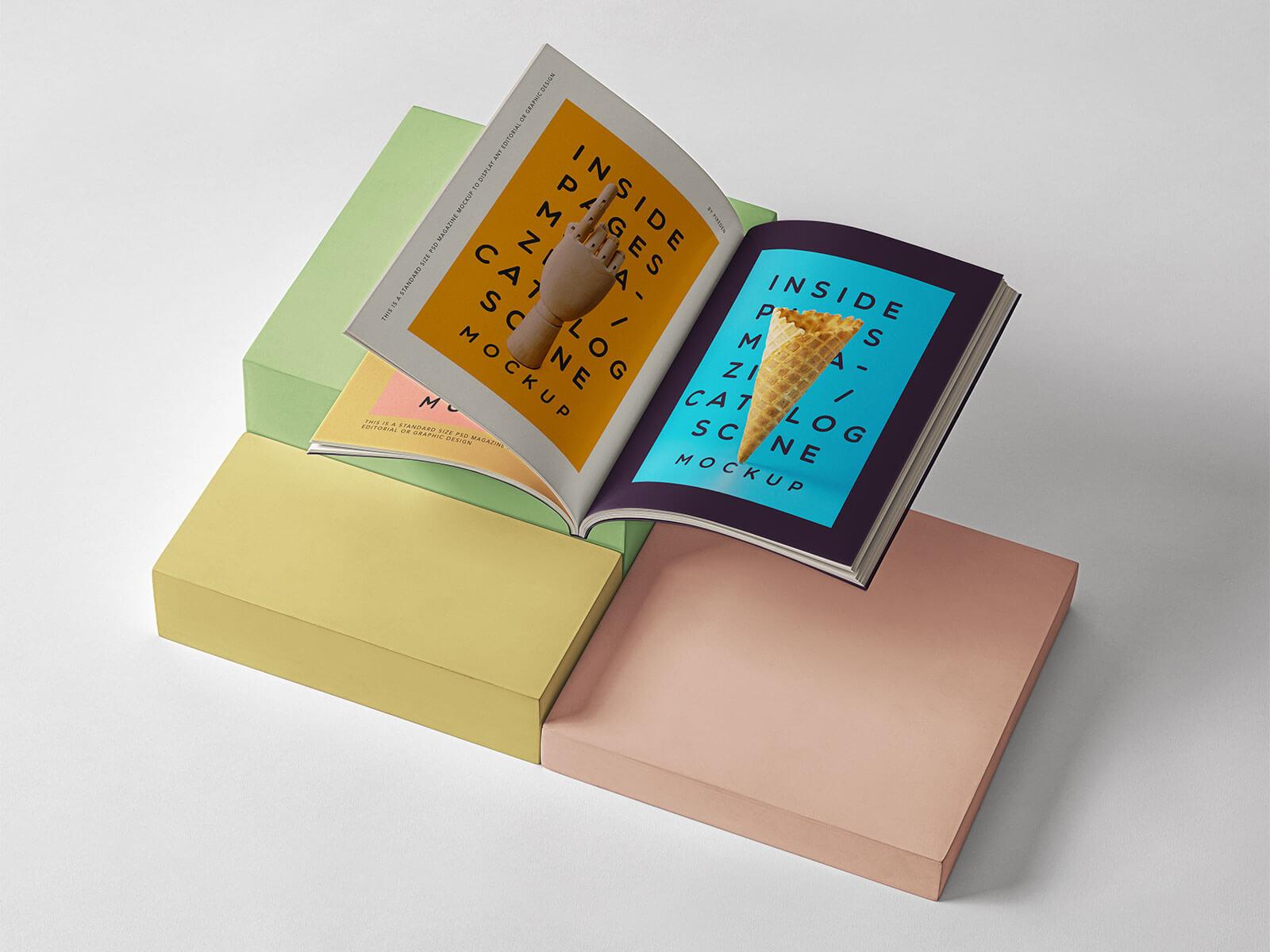 Inside-Magazine-Catalog-Presentation-Scene-Mockup