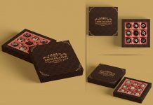 Free Truffle Dark Chocolate Gift Box Mockup PSD Set