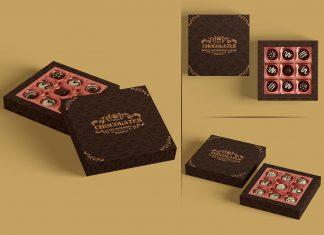 Free Truffle Dark Chocolate Gift Box Mockup PSD Set
