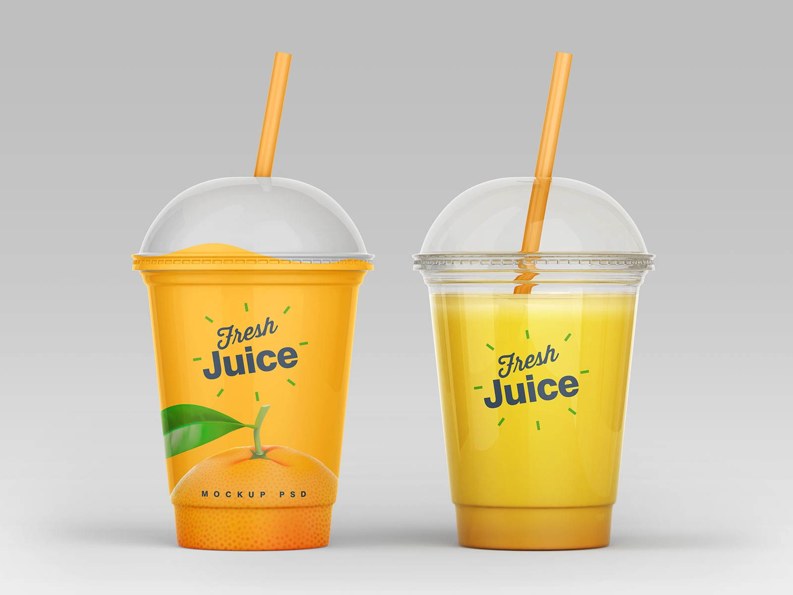 4 Free Clear Plastic Disposable Juice Cup With Dome Lid Mockup PSD Set