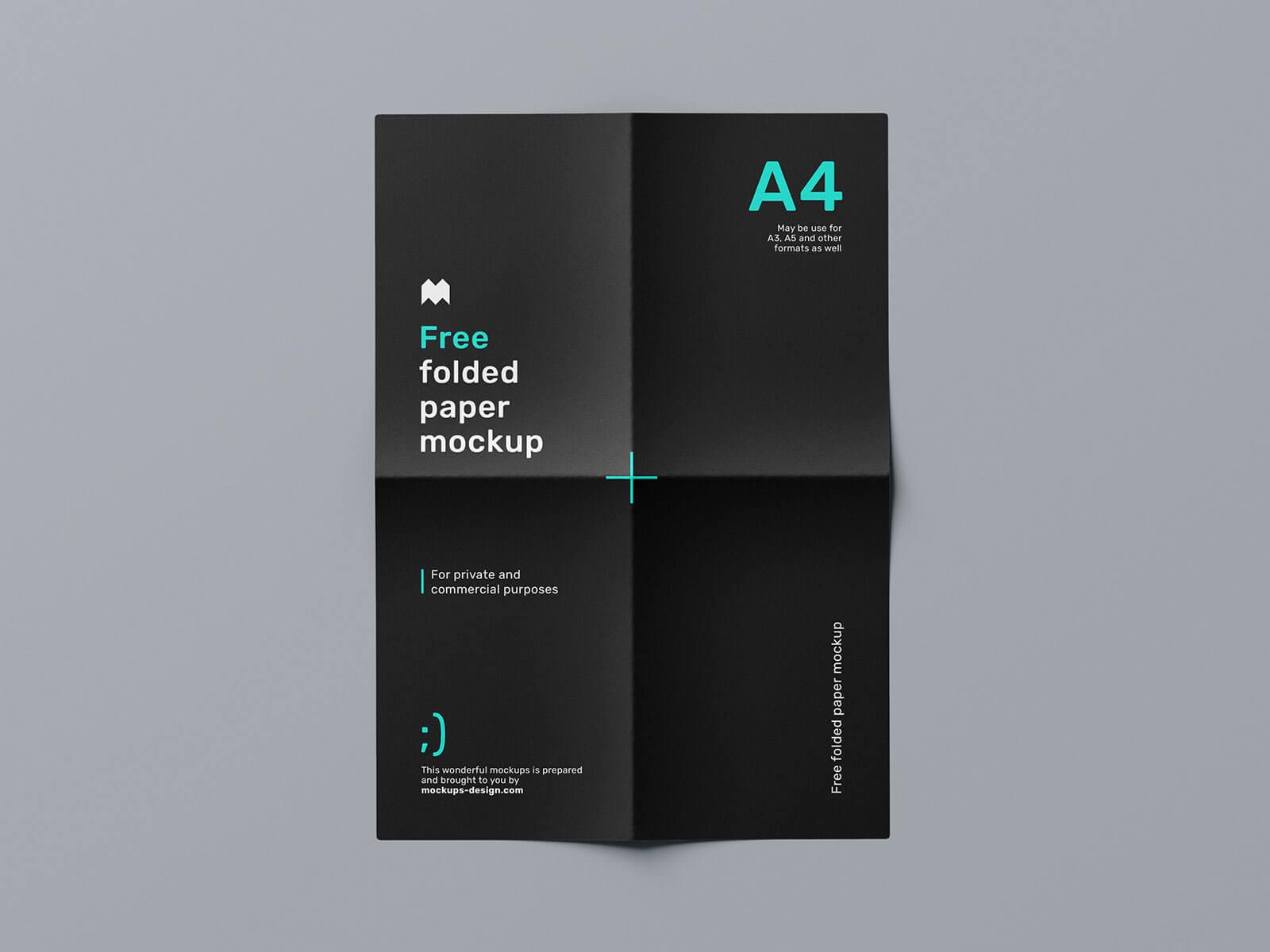 Free Folded Paper Poster Mockup PSD Set