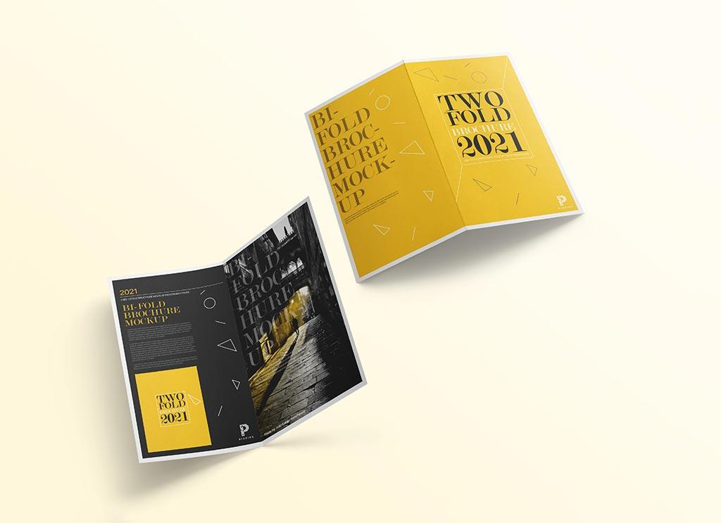 Free-Front-&-Back-Bi-Fold-Brochure-Mockup-PSD
