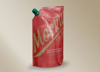 Free Glossy Doypack With Spout Cap Mockup PSD