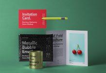 Free-Half-Fold-Brochure-&-Invitation-Card-Stationery-Mockup-PSD