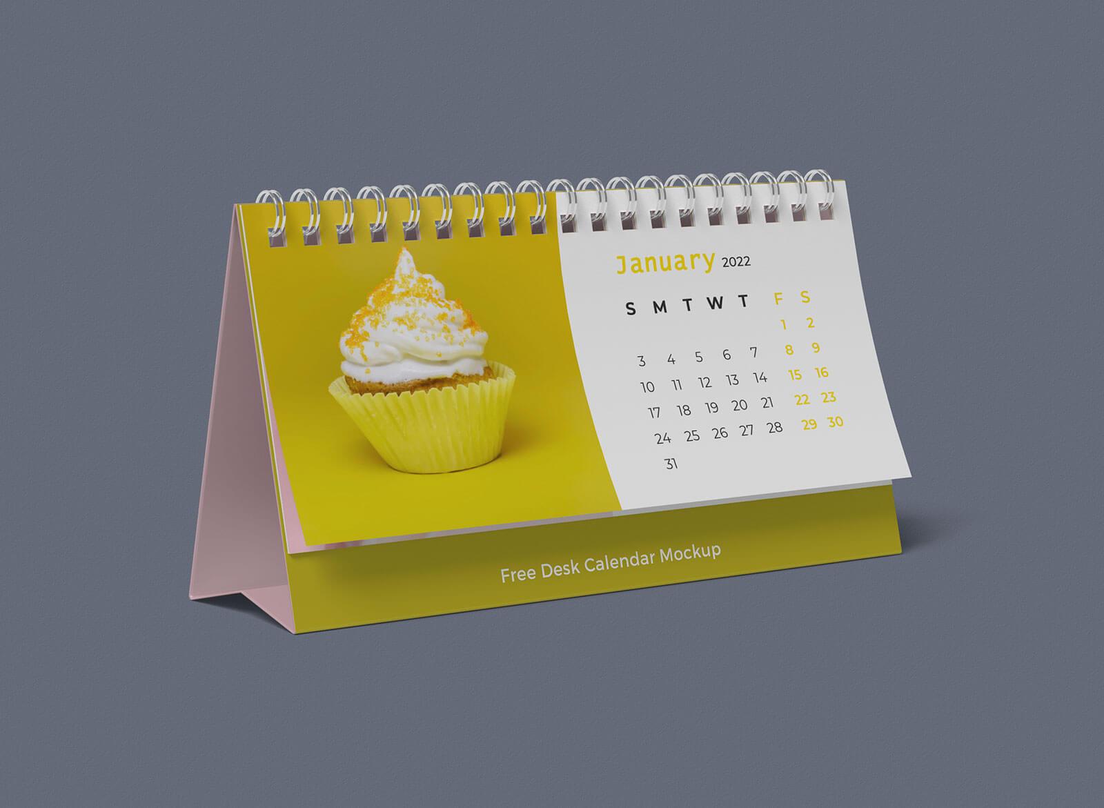 Free Horizontal Desk Calendar 2022 Mockup Psd Good Mockups
