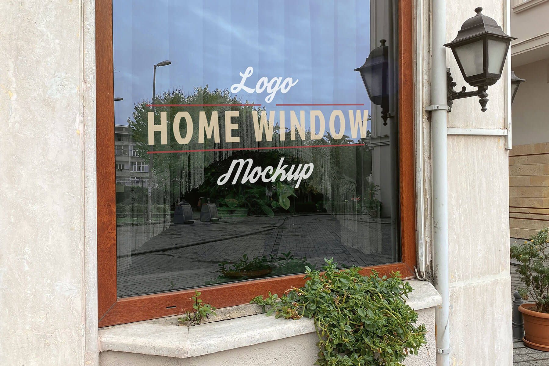 Free House Glass Window Signage Logo Mockup PSD Set (2)