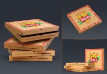 Free Open & Close Pizza Box Packaging Mockup PSD Set