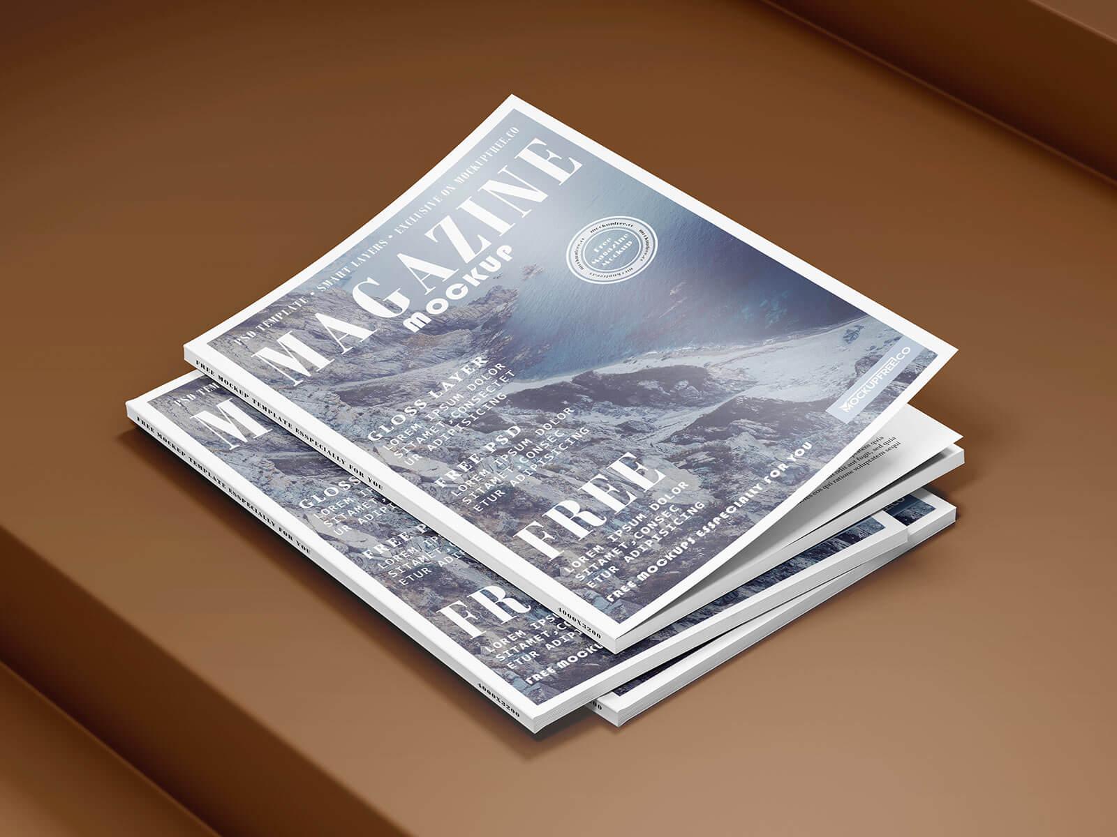 Free Opened & Title Magazine Mockup PSD Set (1)