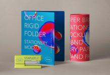Free Plastic File Folder & Stapler Office Stationery Mockup PSD