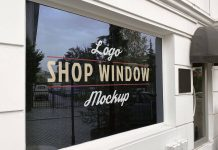 Free Shop Glass Window Signage Logo Mockup PSD Set (1)