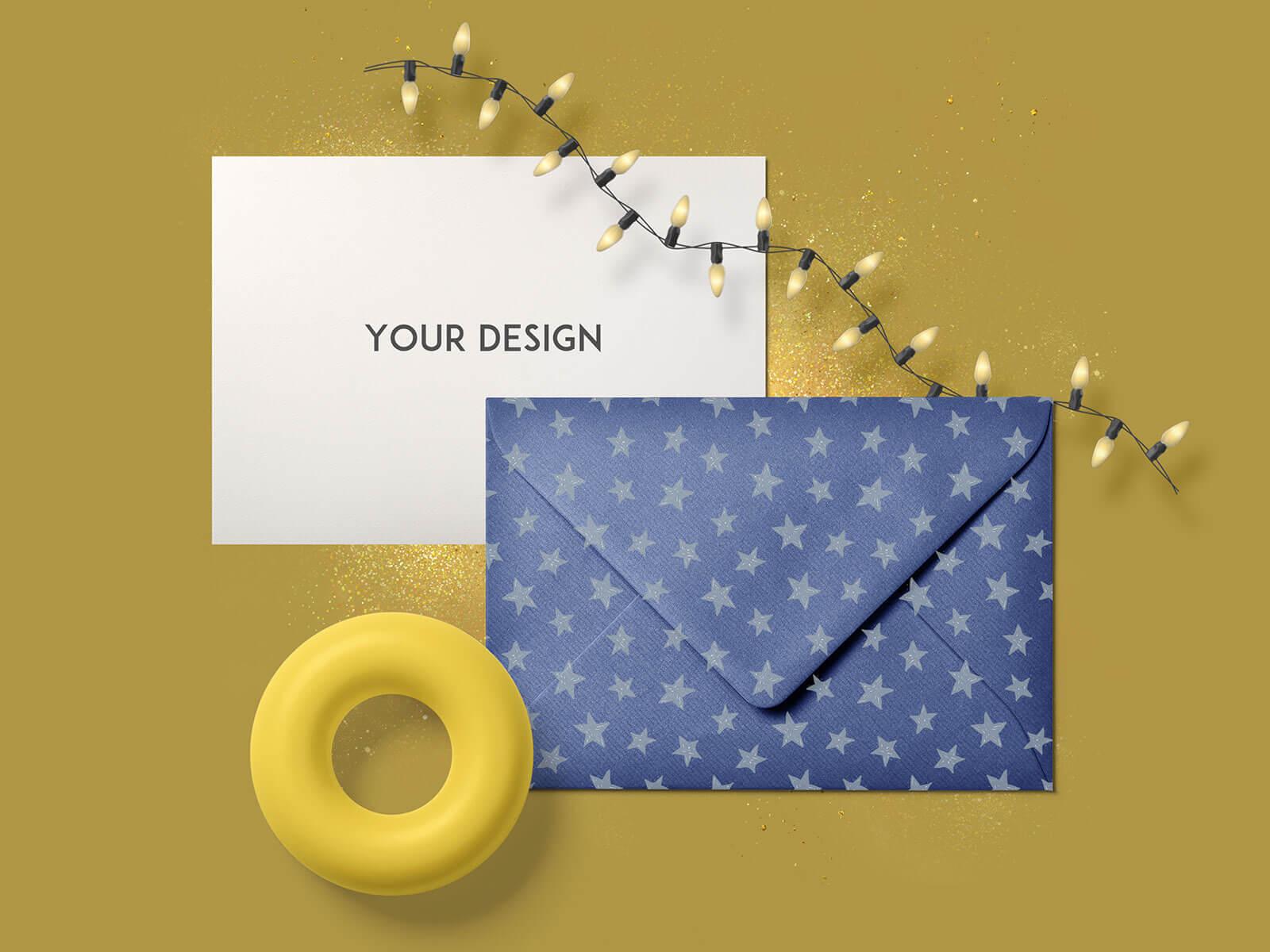 10 Free Greetings Card & Envelope Mockup PSD Set (1)