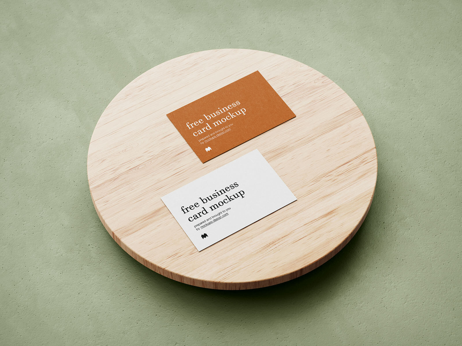 Free Business Card On Wooden Tray Mockup PSD
