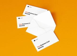 Free White Business Cards & Envelope Mockups PSD