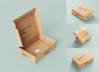Free Delivery Shipping Mailer Box Mockup PSD Set (6)