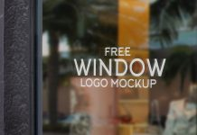 Free Glass Shop Window Signage Logo Mockup PSD Set