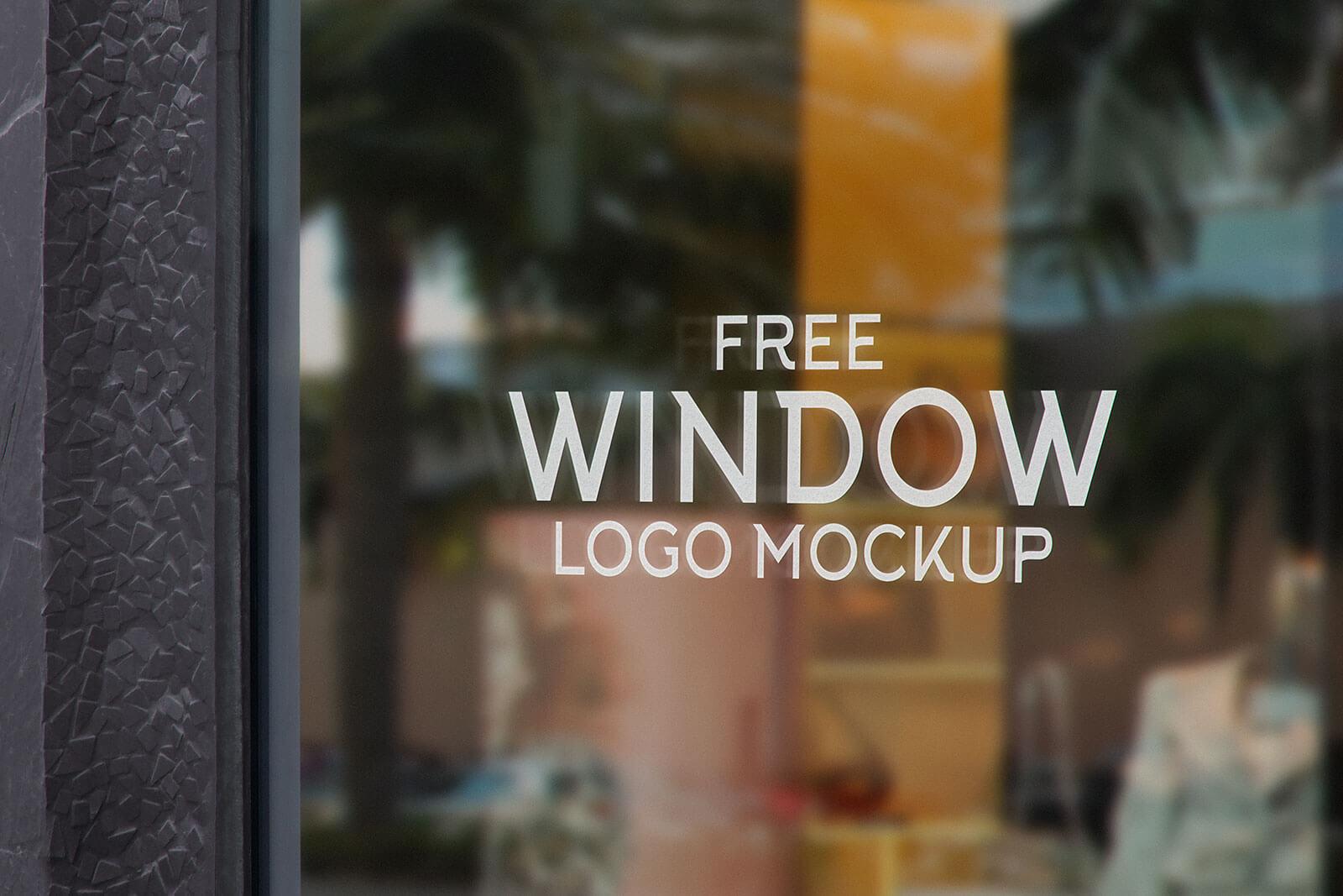 Free Glass Shop Window Signage Logo Mockup PSD Set