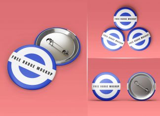 Free Round Pin Button Badge Mockup PSD Set (3)