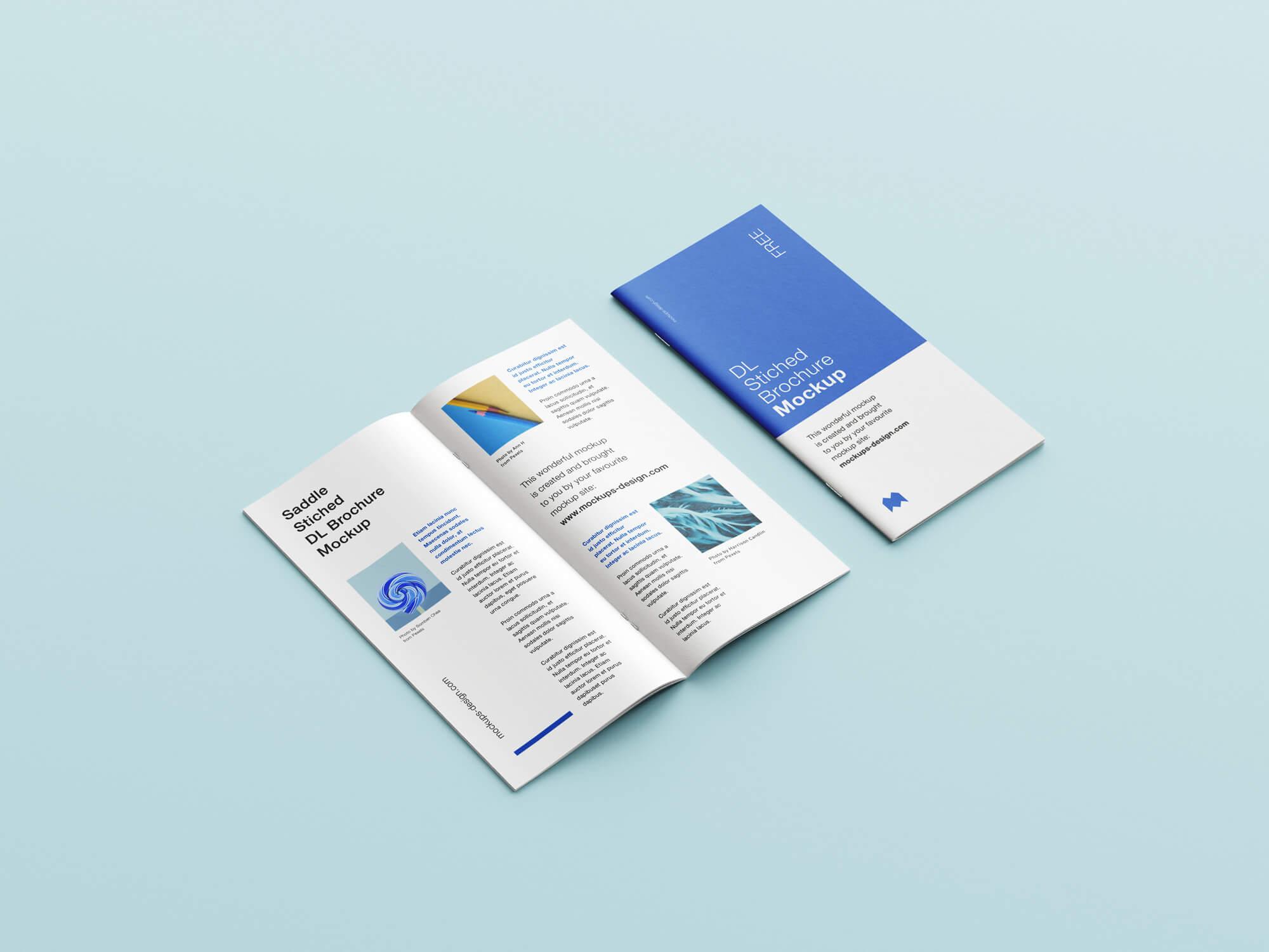Free Saddle Stitched DL Brochure Mockup PSD Set