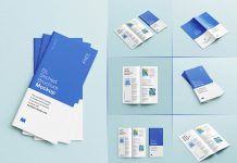 Free Saddle Stitched DL Brochure Mockup PSD Set (8)
