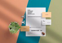 Free Simple Business Card & Letterhead Stationery Mockup PSD (1)